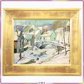 Aldro T. Hibbard; American Oil Winter Village Signed