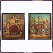 F Palocian 1870 2 Oil Paintings Tragedia  Comedia