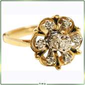 14 Yellow Gold Diamonds Cluster Cocktail Ring Size 6.25