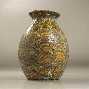 """Mid-Century Modern Italian Art Glass """"Wavy"""" Glass Vase"""
