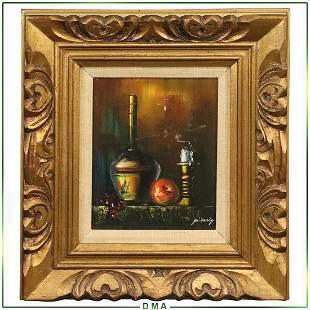 Jo Darby, Oil/c Still Life Candlestick, Wine Bottle