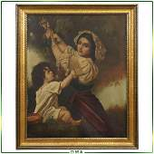 19th C. Italian Oil/c Mother and Child Grapes Picker