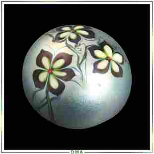 Orient & Flume Art Glass Paperweight Signed, Dated 1976