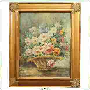 Antonio, 20th C. Impressionist Flowers in Reed Basket