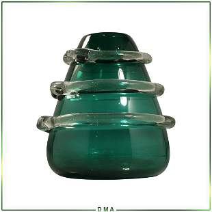 Mid-Century Modern Green Glass Vase Wrap Around Snake