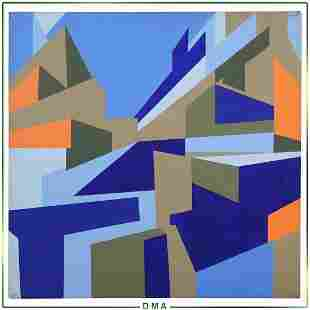 Nick Luttinger, Mid-Century Precisionist Abstract Oil/c