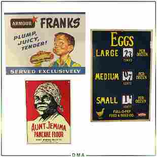3 Assorted Advertising Signs Aunt Jemima, Eggs, Frank's