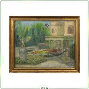 Childe Hassam attributed, Pastel Palatial Estate Garden