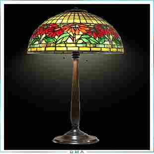 TIFFANY STUDIOS NEW YORK Poinsettia Lamp Signed