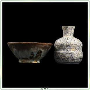 2 Quality Studio Art Pottery Bowl and Vase