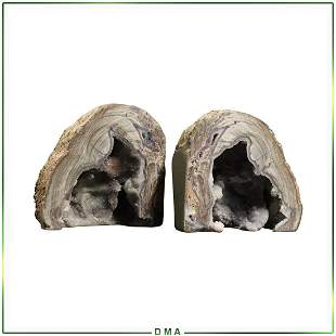 Pair GEODE Bookends - Purple Amethyst