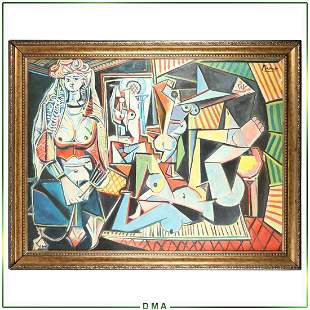 after Pablo Picasso, Large Colorful Abstract Oil/c