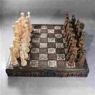 Vintage Classical Roman Figures Chess Set