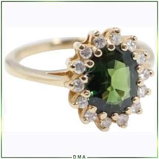 14K Gold Genuine Emerald & Diamond Ring Size 6.25