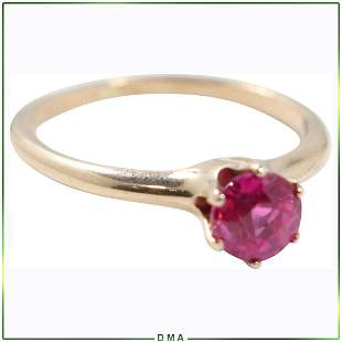 14K Gold Genuine Ruby Ring Size 7 has Stunning Clarity