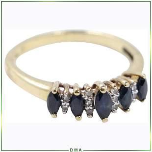10K Gold Genuine Sapphires & Diamonds Ring Size 7