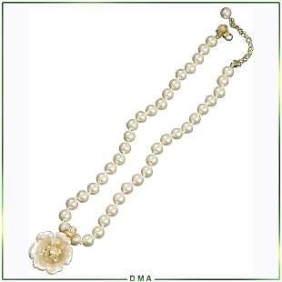 Nolan Miller, Pearl Necklace with Floral Pendant CZs