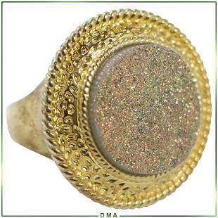 Designer Costume Ring with Gold Druzy, Marked: N