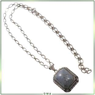 .925 Sterling Silver Polished Agate Pendant Necklace