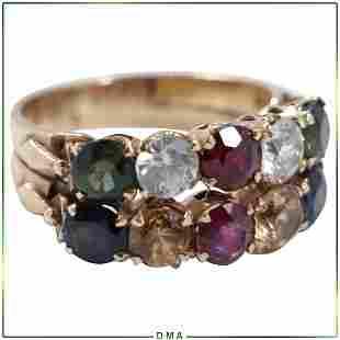 14K Gold Stunning Ring Emerald Sapphire Rubies Citrine