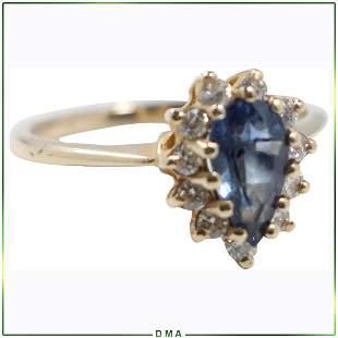 14K Gold Genuine Blue Sapphire Diamonds Ring Size 7