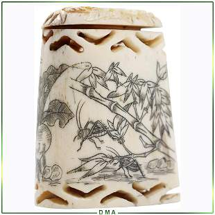 Antique Signed Chinese Carved Bone Trinket Box with Lid