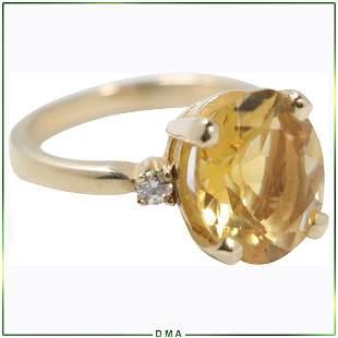 14K Gold Genuine Yellow Citrine & Diamonds Ring Size 6