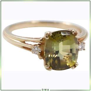 14K Gold Genuine Green Tourmaline & Diamonds Ring