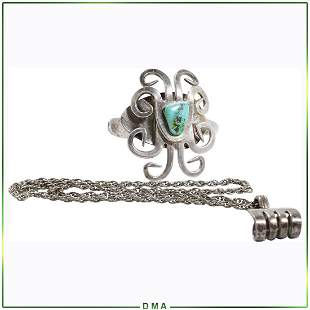 Sterling Silver Cuff Bracelet with Turquoise & Necklace