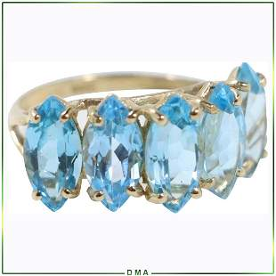 10K Yellow Gold Ring with Blue Topaz Stones