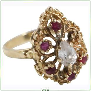 14K Yellow Gold Ruby Stones and CZs Cocktail Ring