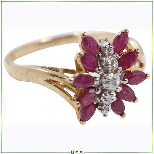 10K Yellow Gold Rubies and Diamonds Cluster Ring