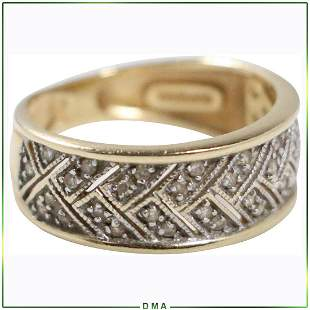 14K Yellow Gold Band Ring with Diamonds
