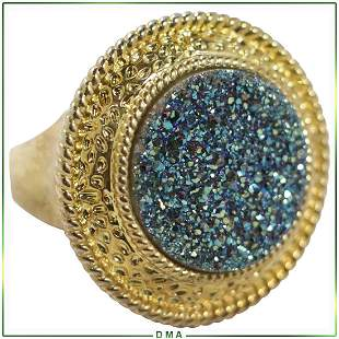 Costume Designer Ring with Blue Druzy Crystals