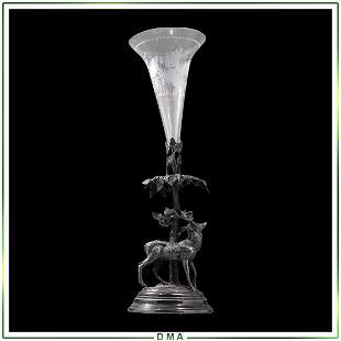 WWH&Co Silver Plate Stag Figure Base Crystal Glass Vase
