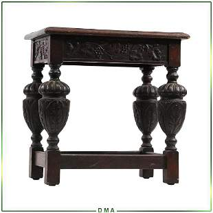Circa 1920 Oak Jacobean Small Rectangular Stand