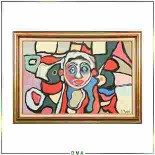 R Monti, Mid-Century Modern Figure in Abstract Oil/c