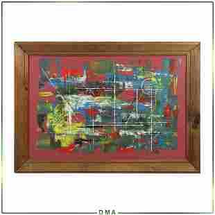 Zumba DNS, Mid-Century Modern Abstract Oil on Canvas