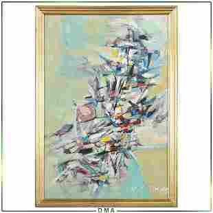 H E Sime, Mid-Century Modern Abstract Composition O/b
