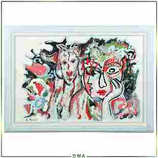 R Monti, Mid-Century Modern Abstract Double Portraits