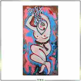 R Monti, Mid-Century Modern Abstract Voluptuous Nude Oc