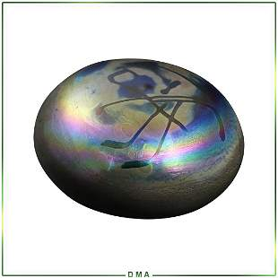 Signed LEVAY Studio Art Glass Paperweight Iridescent