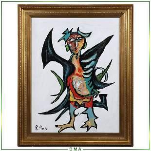 R Monti, Mid-Century Modern Abstract Surrealist Figure