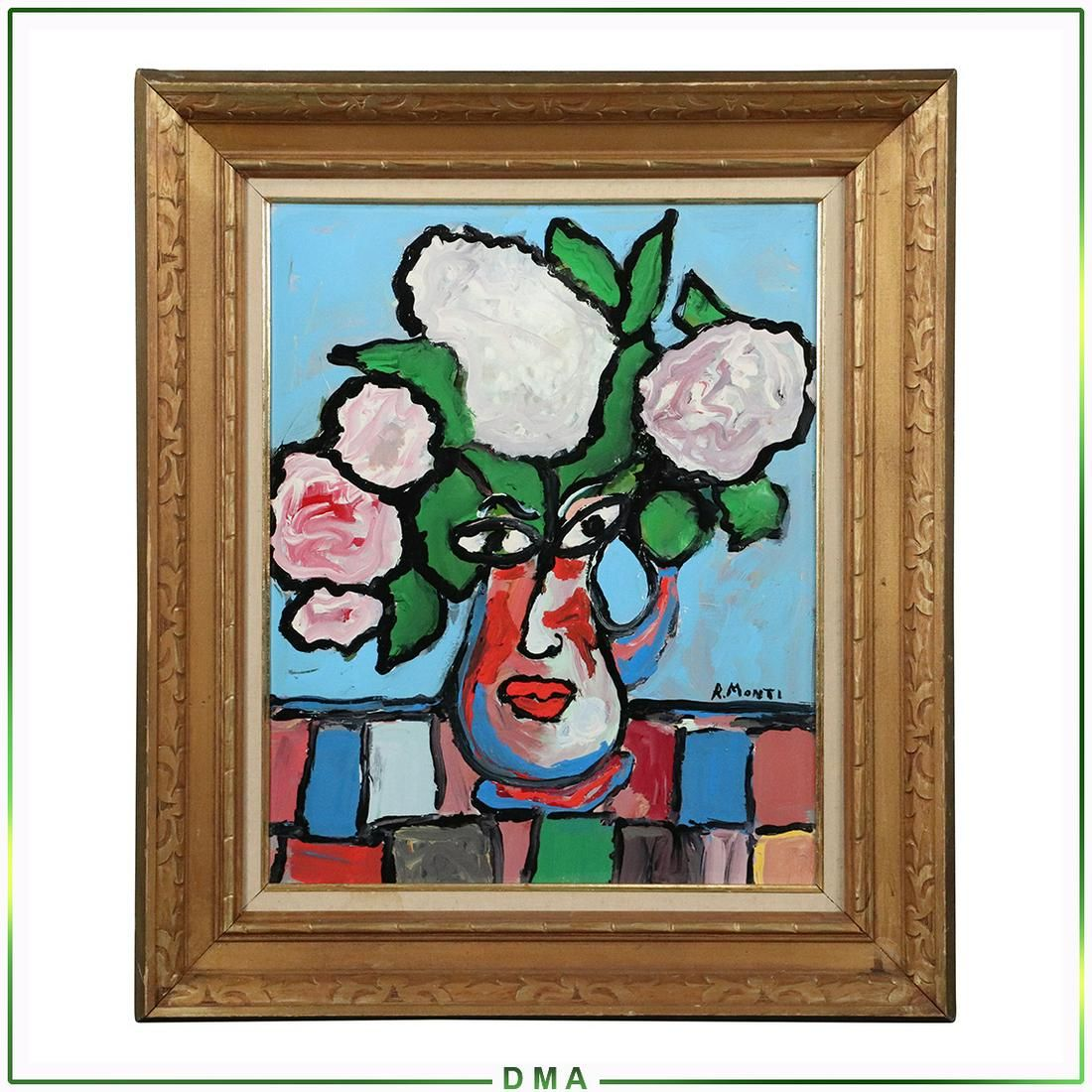 R Monti, Mid-Century Modern Abstract Still Life Oil/C