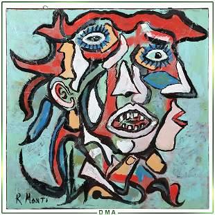 R Monti, Mid-Century Modern Abstract Oil/c Portrait