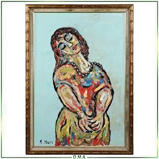 R Monti, Mid-Century Modern Abstract Portrait Woman O/c
