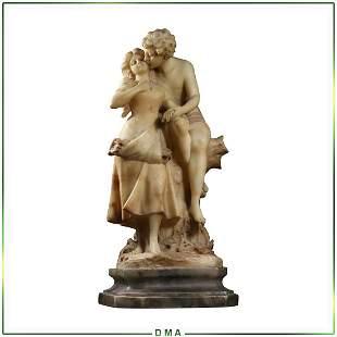 Adolfo Cipriani, Alabaster Sculpture Statue Young Love