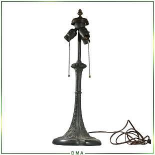 Vintage Cast Bronze Lamp Base, 3-Socket Top