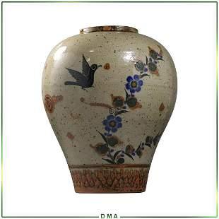 "Studio Art Pottery Vase with Blue Bird, Signed ""S"""