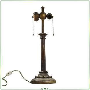 Vintage Cast Bronze Lamp Base - 2 Light Socket Top